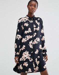 Платье-рубашка с цветочным принтом b.Young - Черный