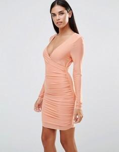 Платье с V‑образным вырезом, длинными рукавами и сборками AX Paris - Розовый