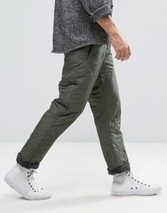 Прямые стеганые брюки цвета хаки ASOS - Зеленый