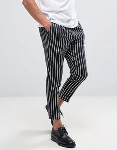 Суженные строгие брюки в полоску ASOS - Темно-синий