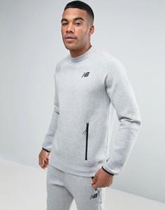 Серый свитшот с круглым вырезом и короткими рукавами New Balance MT63502_AG - Серый