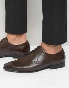 Коричневые оксфордские туфли со вставкой на носке Frank Wright - Коричневый