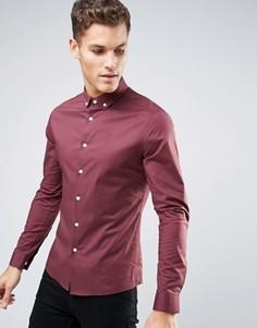 Бордовая рубашка скинни с воротником на пуговицах ASOS - Красный