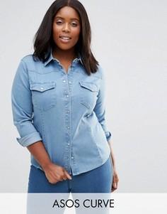 Джинсовая светлая рубашка в стиле вестерн ASOS CURVE - Синий