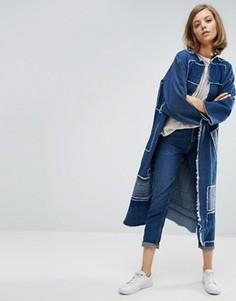 Удлиненное пальто-кимоно в стиле пэчворк Waven Johan - Синий