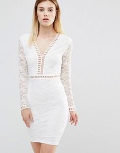 21c30757740 Платье мини с глубоким вырезом и кружевными рукавами AX Paris - Кремовый