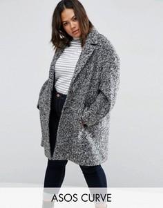 Фактурное пальто-кокон ASOS CURVE - Черный