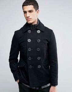 Двубортная стеганая куртка с добавлением шерсти Celio - Темно-синий