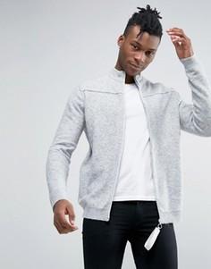 Куртка на молнии с высоким воротом и отделочными швами ASOS - Серый