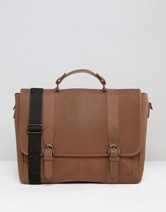 Кожаный портфель с застежкой на пряжки ASOS - Коричневый