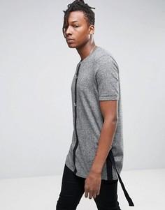 Длинная вязаная футболка с D-образными кольцами ASOS - Серый