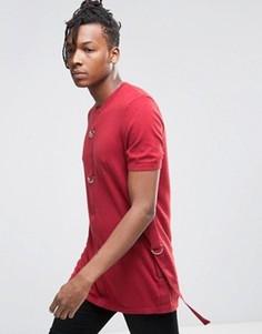 Длинная вязаная футболка с D-образными кольцами ASOS - Красный