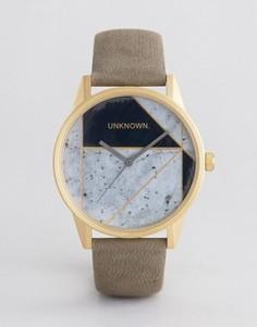 Часы с геометрическим принтом и кожаным ремешком UNKNOWN Urban - Серый