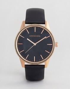 Классические часы цвета розового золота с черным кожаным ремешком UNKNOWN - Черный