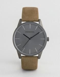 Классические часы с зеленым кожаным ремешком UNKNOWN - Зеленый