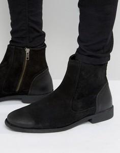 Черные замшевые ботинки челси с кожаным задником ASOS - Черный