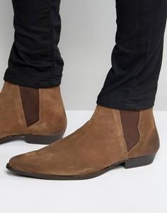 Коричневые замшевые ботинки челси с острым носком ASOS - Коричневый