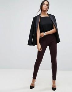 Облегающие брюки с завышенной талией ASOS - Коричневый