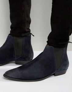 Темно-синие замшевые ботинки челси с заостренным носком ASOS - Темно-синий