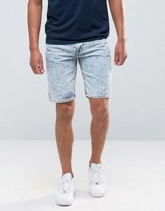 Джинсовые шорты с эффектом кислотной стирки Bellfield - Темно-синий