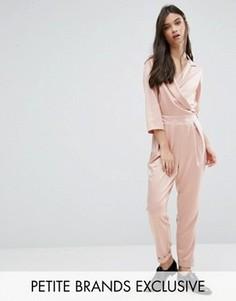 Комбинезон в строгом стиле с глубоким вырезом и завязкой Alter Petite - Розовый