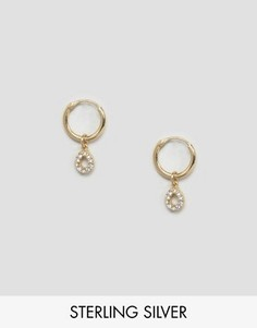 Серебряные позолоченные серьги-кольца 9 мм ASOS - Золотой