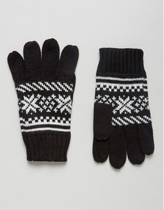 Перчатки с узором Фэйр-Айл 7X - Черный