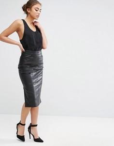 Юбка-карандаш из искусственной кожи с карманом ASOS - Черный
