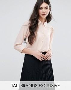 Блузка на пуговицах с фигурной отделкой по краю Alter Tall - Розовый