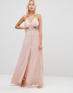 Платье макси на бретельках со вставкой-кроше Jarlo Simone - Розовый