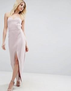 Асимметричное длинное платье бандо ASOS - Фиолетовый