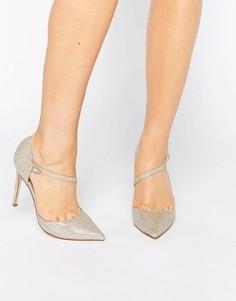 Асимметричные остроносые туфли на высоком каблуке ASOS PETAL - Золотой