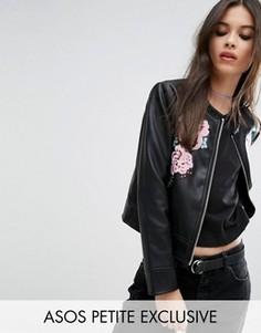 Куртка из искусственной кожи с вышивкой ASOS PETITE - Черный