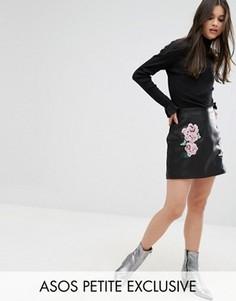 Мини-юбка из искусственной кожи с вышивкой ASOS PETITE - Черный