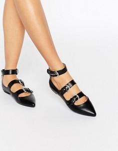Остроносые туфли с пряжками London Rebel - Черный