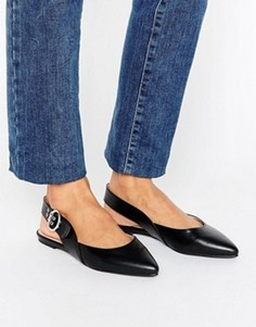 Туфли с ремешком через пятку и пряжками London Rebel - Черный
