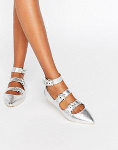Туфли металлик с заостренным носком и пряжками London Rebel - Черный