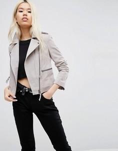 Замшевая байкерская куртка ASOS - Серый
