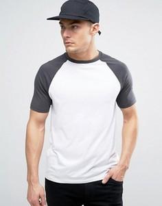 Черно-белая футболка с рукавами реглан ASOS - Белый
