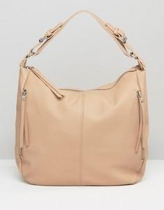 Светло-бежевая свободная сумка‑хобо на плечо Pieces - Бежевый