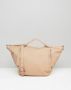 Розоватая сумка-тоут Pieces - Бежевый