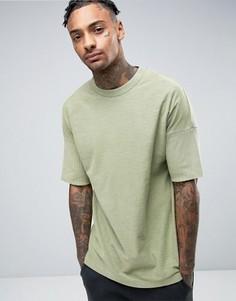 Зеленая выбеленная oversize-футболка со вставкой в рубчик у края ASOS - Зеленый