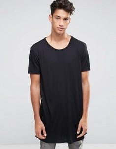 Черная длинная футболка New Look - Черный