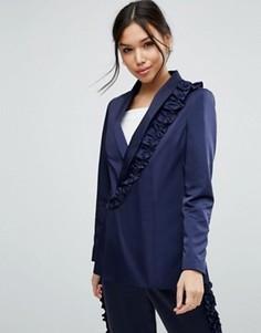Пиджак с оборкой ASOS - Темно-синий
