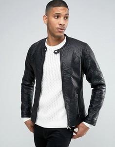 Байкерская куртка из искусственной кожи Barneys - Черный Barneys Originals
