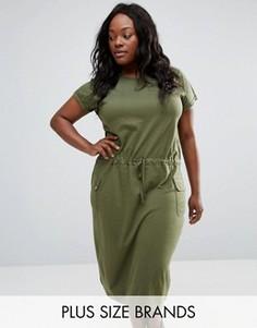 Платье миди с карманами NVME Plus - Зеленый