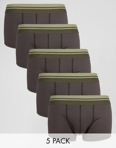 Набор из 5 черных сетчатых трусов-хипстеров с полосками цвета хаки на поясе ASOS - СКИДКА - Черный
