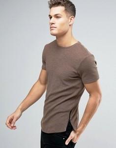 Длинная обтягивающая футболка из вафельного трикотажа с молниями по бокам ASOS - Коричневый