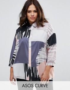Oversize-рубашка с абстрактным принтом ASOS CURVE - Мульти