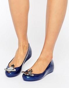 Темно-синие блестящие туфли на плоской подошве Vivienne Westwood For Melissa Ultragirl - Темно-синий